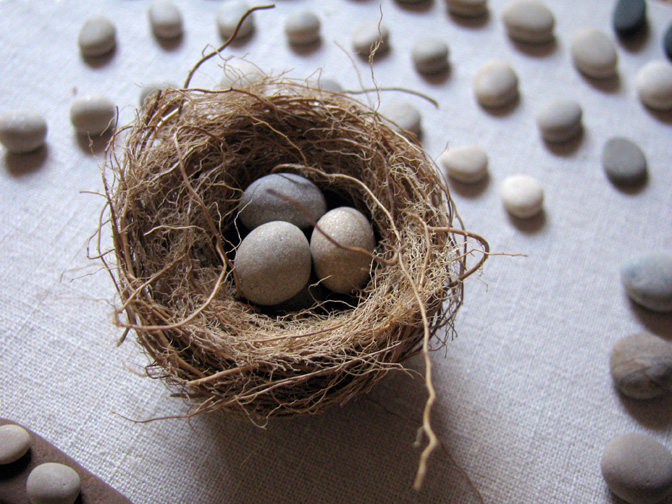 Nest made from Lake Michigan beachgrass roots, surrounded by beach pebbles