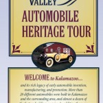 Cover panel of the folded brochure that features text and images of historical points of interest for those exploring early automobile history in the Kalamazoo area.