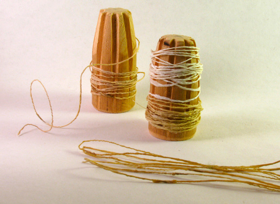 Shifu, or handspun paper twine. The lighter twine is made from kozo (Asian mulberry bark paper); the darker is made from recycled teabag paper.