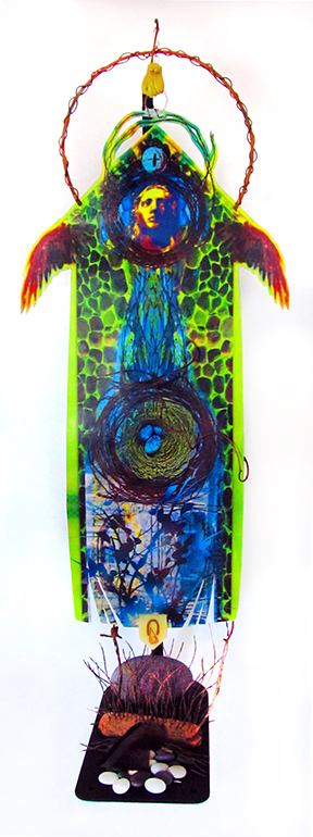 "Shooting Angels — 10"" x 23""; encaustic print, copper, polymer clay, stones, found objects"